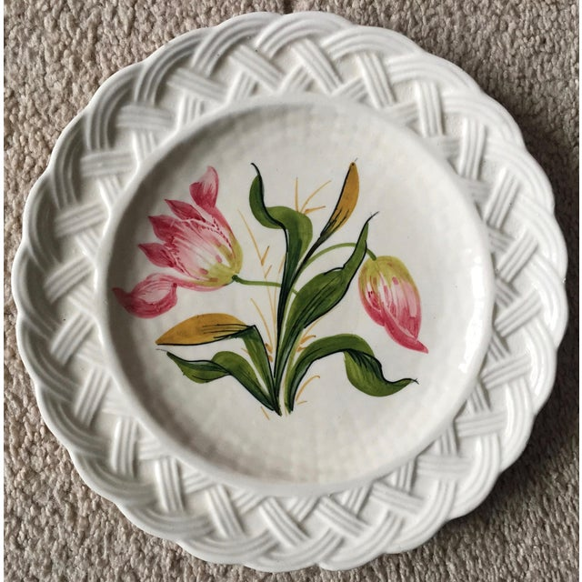Italian Faience Hand-Painted Tulip Plates-Set 8 For Sale - Image 11 of 13
