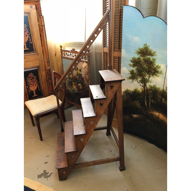 Rare English Mid 19th Century Neo Gothic Library Steps. The six steps become smaller as they rise to the top. This item is...