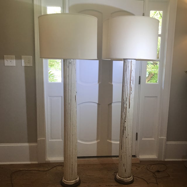 Antique Distressed White Wood Column Floor Lamps A Pair Chairish