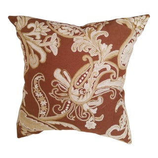 Custom Made Clarence House Cocoa Brown and Ivory Crewel Embroidered Linen Pillow Down Filled For Sale