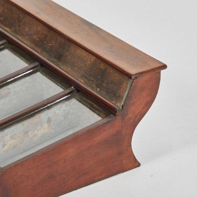 A display case in mahogany, originating in England, circa 1870.