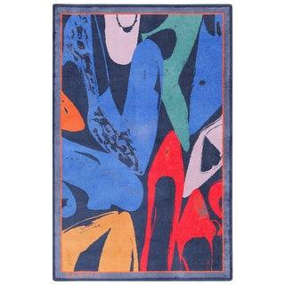 Vintage After Andy Warhol Ege Art Line Diamond Dust Shoes Scandinavian Rug - 6′ × 9′2″ For Sale