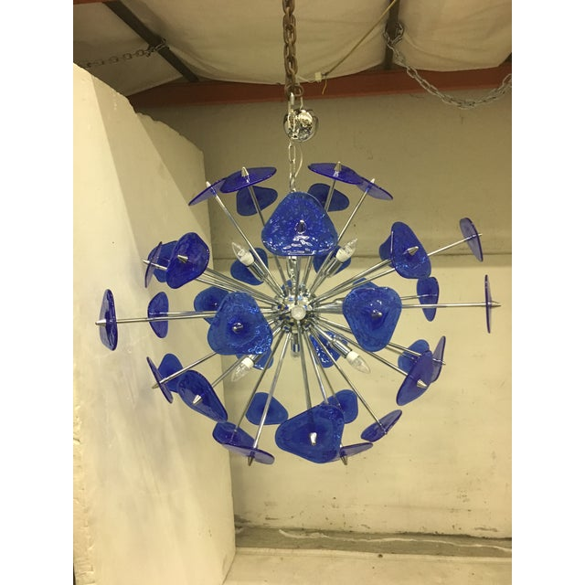 Murano Contemporary Blue Murano Glass Sputnik Chandelier For Sale - Image 4 of 12