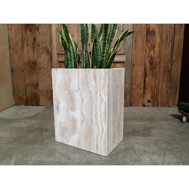 Modern 20th Century Modern Travertine Marble Planter For Sale - Image 3 of 11