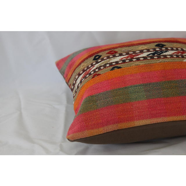 Turkish Handmade Wool Kilim Pillow Cover For Sale - Image 7 of 8