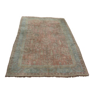 Mid Century Turkish Oushak in Pastel Blues and Salmon - 9′4″ × 13′6″ For Sale