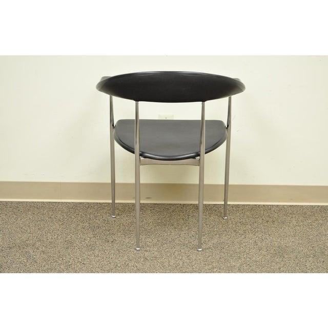 Vintage Mid Century Modern Fasem Chrome & Molded Vinyl Italian Desk Arm Chair For Sale - Image 5 of 11