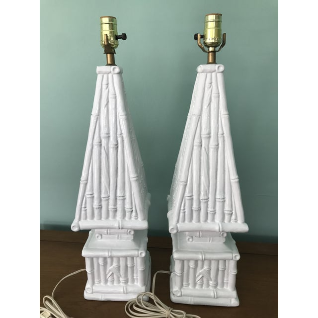 Ceramic 20th Century Hollywood Regency Ceramic Bamboo Obelisk Lamps - a Pair For Sale - Image 7 of 7