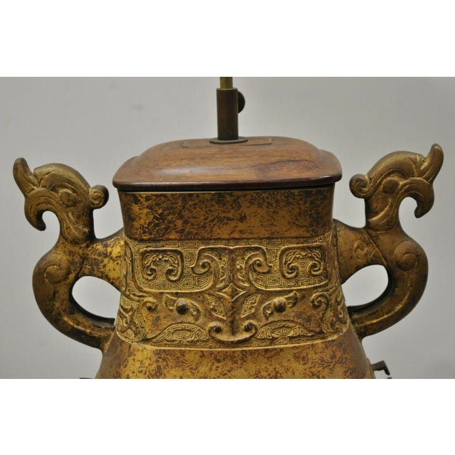 Antique Chinese Gilt Bronze & Rosewood Figural Double Light Table Lamp For Sale - Image 4 of 13