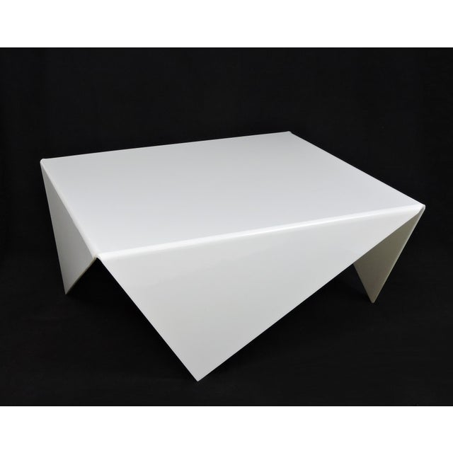 Mid-Century Modern Bertin France Mouchoir Style White Acrylic Coffee Table For Sale - Image 9 of 10