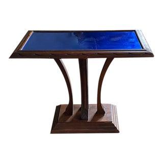 Antique Art Deco Cobalt Blue Mirrored Top Table For Sale