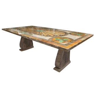 Italian Scagliola Marble Table on Concrete Plinths For Sale