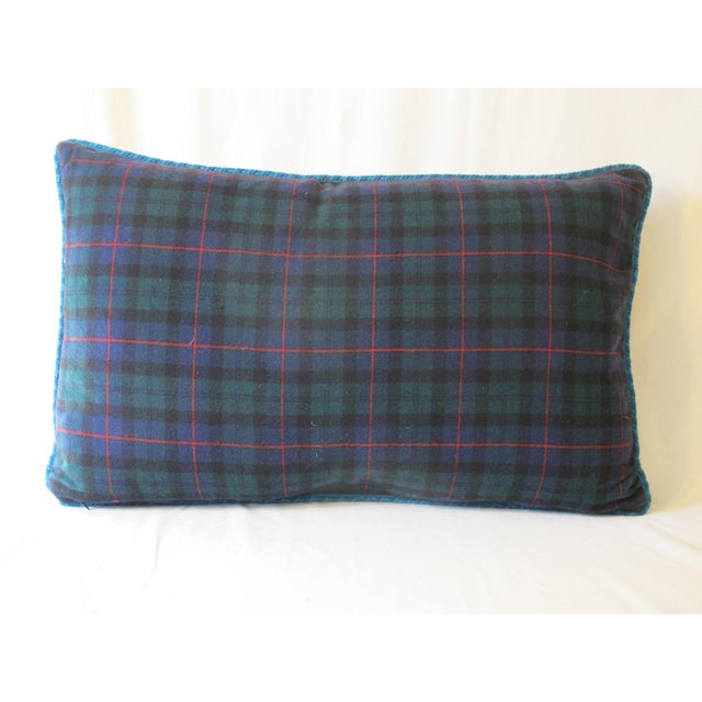 A pillow made from a circa 1880s Scottish wool paisley shawl, backed with a complementing wool tartan. down insert is...