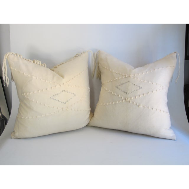 White Southwestern Blanket Fringe Pillows - A Pair - Image 2 of 7