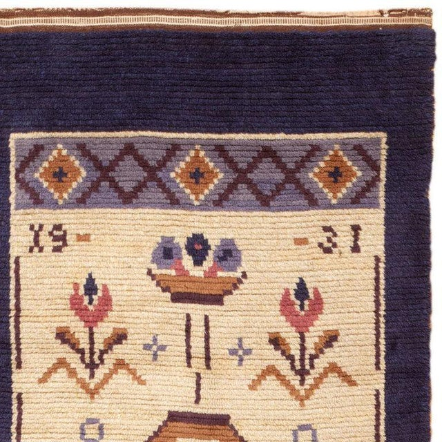 Vintage Swedish Wool Rug - 4′ × 9′7 For Sale - Image 4 of 6