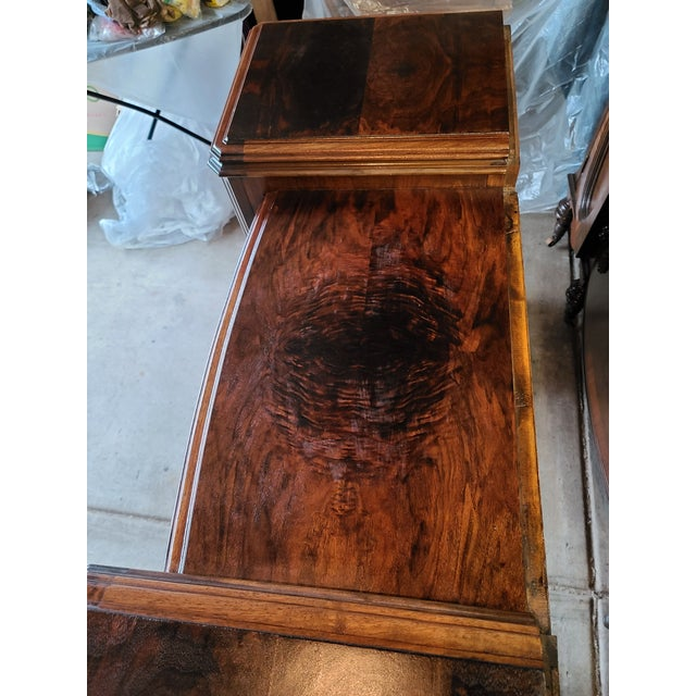 Traditional Antique Regency Burl Veneer Marquetry Console Table/ Vanity For Sale - Image 3 of 5