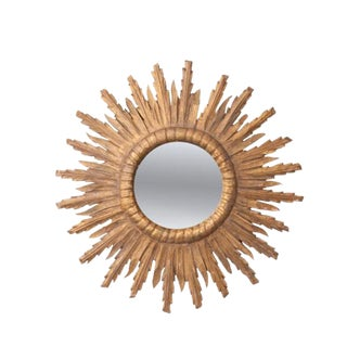 French 19th Century Gold Gilt Starburst Mirror For Sale