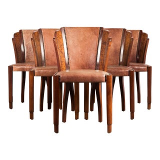 1920s Art Deco Walnut Burl and Cognac Leather Dining Chairs - Set of 6