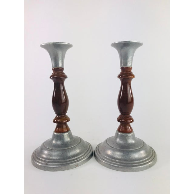 Vintage Mid Century Wood and Pewter Candlesticks- A Pair For Sale - Image 9 of 9