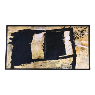 Large 1970s Vintage Abstract Black and Gold Painting For Sale