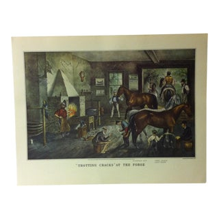 "Currier & Ives American Print, ""Trotting Cracks at the Forge"" by Crown Publishers, Circa 1950 For Sale"