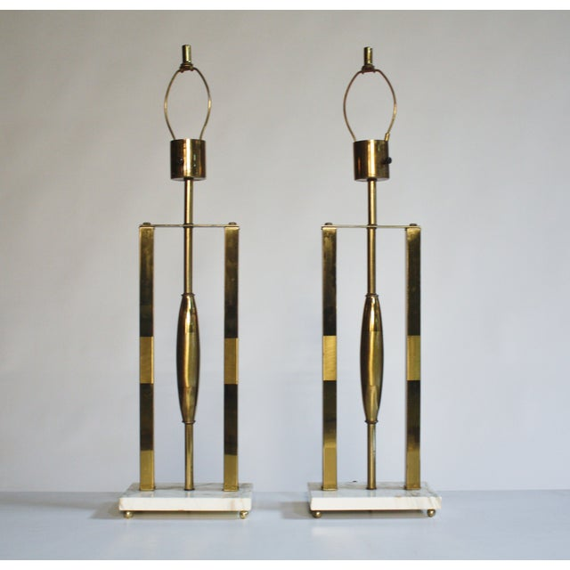 Mid-Century Modern Vintage Brass & Marble Lamps - A Pair For Sale - Image 3 of 9