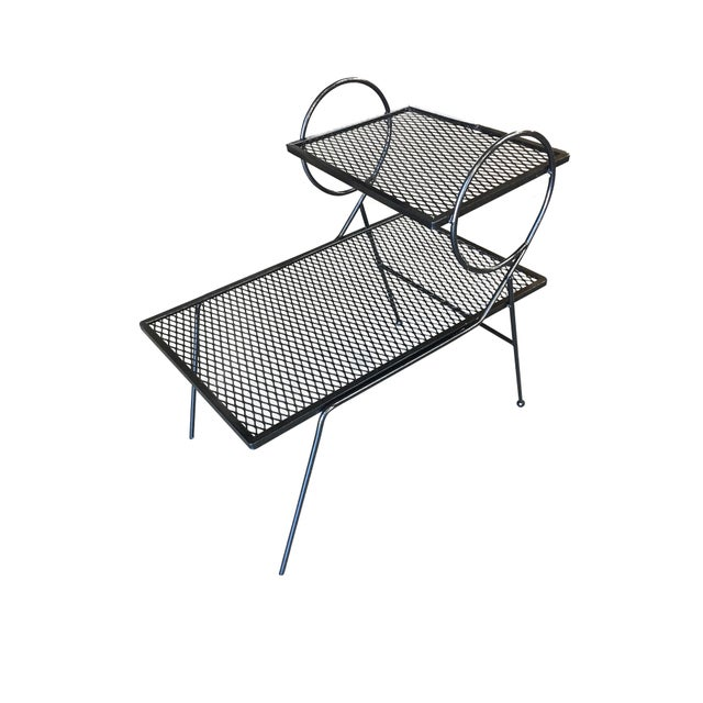 Metal Early Art Deco Two-Tier Mesh Steel Outdoor/Patio Side Table by Woodard For Sale - Image 7 of 7