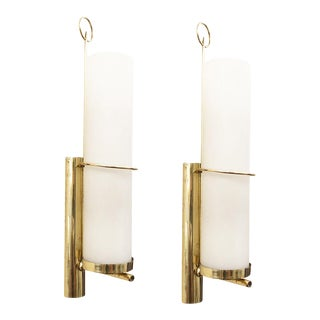 Cylindrical Mid-Century Brass Wall Lights - a Pair For Sale