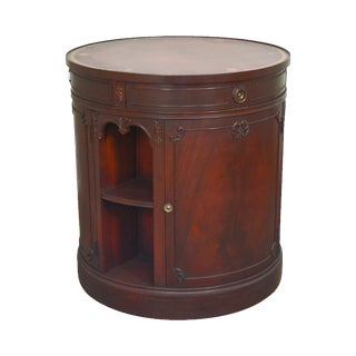 Georgian Style Vintage Round Mahogany Revolving Drum, Bar, Library Cabinet For Sale