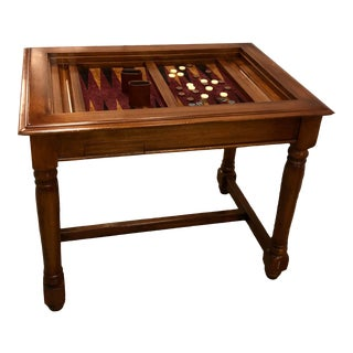 Carved Mahogany Backgammon Game Table - Campaign Pulls For Sale