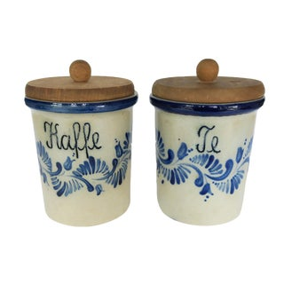 Vintage Blue and White Stoneware Swedish Coffee and Tea Kitchen Canister Set of 2 For Sale