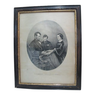 Currier & Ives Lincoln at Home Reading Scriptures to Wife & Son Steel Engraving For Sale