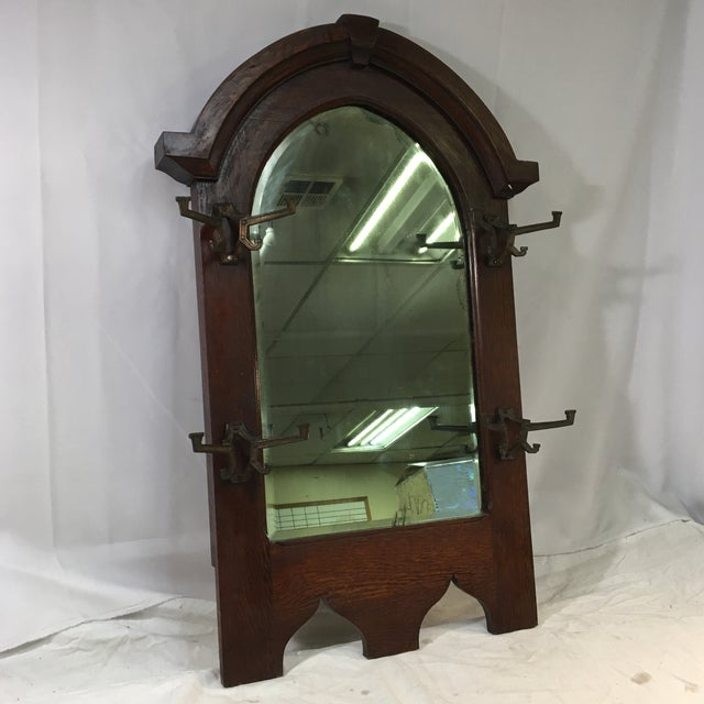 Antique Wooden Hall Tree Mirror With Hooks (Ca. 1923) For Sale - Image 13 of 13