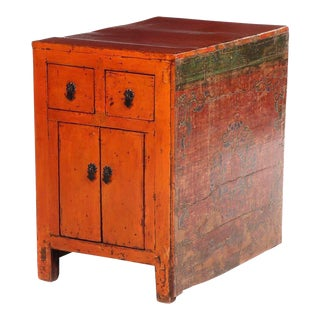Antique Asian Sino-Tibetan Red Lacquered & Painted Wood Cabinet For Sale