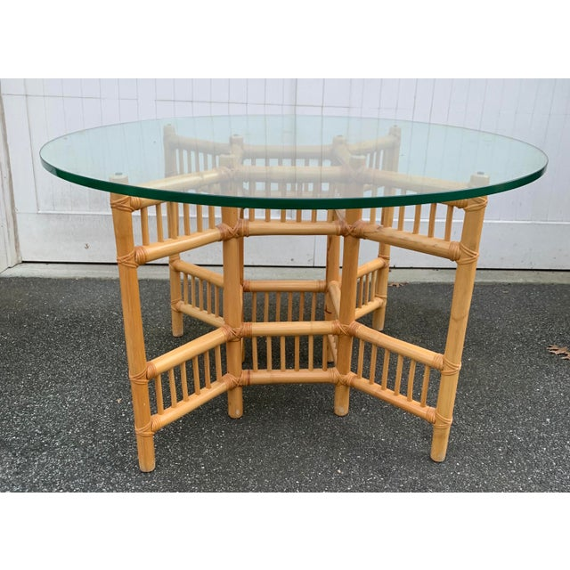 Mid 20th Century Willow and Reed Bamboo and Glass Round Dining Table For Sale - Image 5 of 11