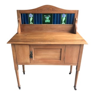 Vintage French Country Pine Washstand With Majolica Tile Back For Sale
