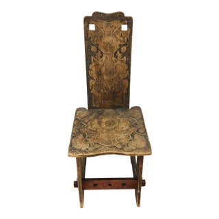 Antique Arts & Crafts Hand Carved Chair For Sale