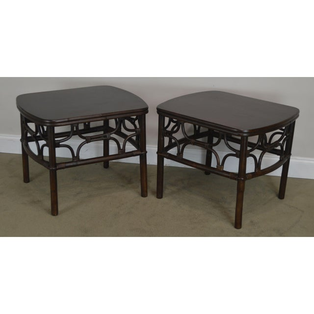 High Quality Pair of Rattan Low Tables with Wood Tops Unsigned Maker Possibly Ficks Reed
