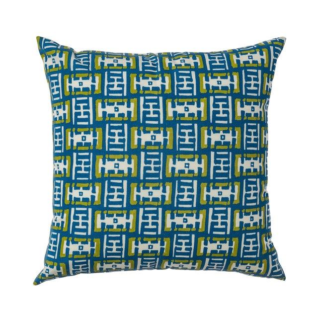 Contemporary Ferrick Mason Mr. Rowe Outdoor - Custom Green Blue Pillow For Sale