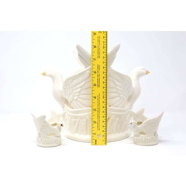 Ceramic Flying Doves Candle Holders - Set of 3 For Sale - Image 9 of 12