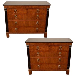 Pair of Mahogany Chests With Black Granite Top For Sale