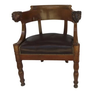 French Empire Mahogany Desk Chair with Lion Head Armrests c 1820 For Sale
