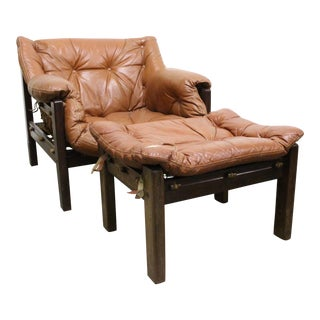 Jean Gillon Leather Chairs & Ottomans - a Pair Availible For Sale