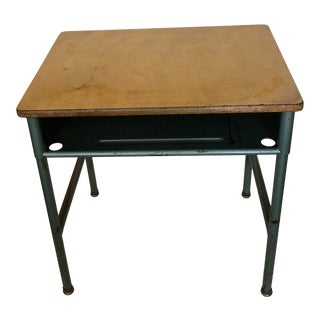 1950s Vintage Industrial Metal & Wood School Desk
