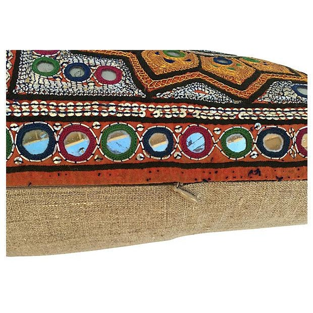 Indian Embroidered Metallic Body Pillow For Sale - Image 4 of 6