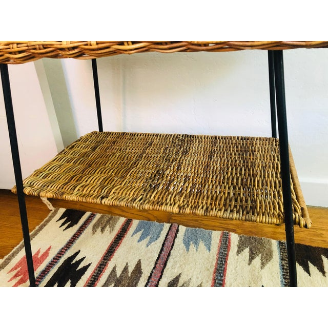 Metal Mid Century Rectangular Wicker Side Table on Iron Frame For Sale - Image 7 of 11