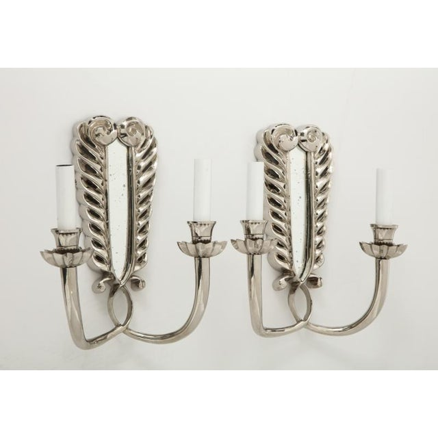 Silver Double Arm Sconces - A Pair For Sale In New York - Image 6 of 13