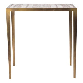 Mix Media Nesting Table M in Shagreen/Shell, Bronze-Patina Brass by R&Y Augousti For Sale