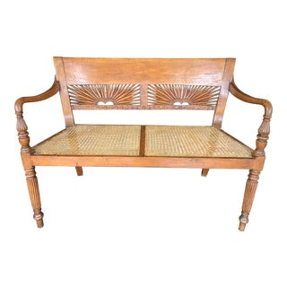1960s Vintage Hand-Carved Caned Bench