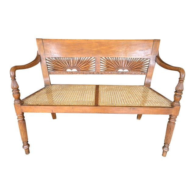 1960s Vintage Hand-Carved Caned Bench For Sale